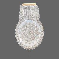 White Gold Diamond Cluster Halo Pendant - 10k Baguette & Single Cut 1.00ctw