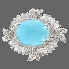 White Gold Persian Turquoise & Diamond Vintage Wreath Halo Brooch - 14k 2.00ctw
