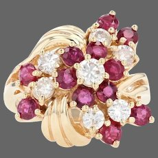 Yellow Gold Ruby & Diamond Floral Cluster Halo Bypass Ring - 14k Round 2.47ctw