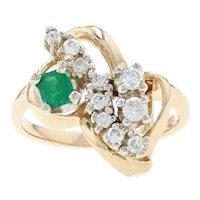 Yellow Gold Diamond & Emerald Leaf Ring - 14k Round Brilliant Cut .52ctw