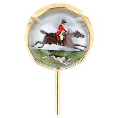 Yellow Gold Vintage Essex Crystal Fox Hunting Stickpin - 14k Equestrian Sport