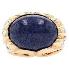 Yellow Gold Lapis Lazuli & Diamond Ring - 14k Oval Cabochon Cut .38ctw