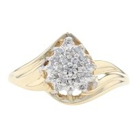 Yellow Gold Diamond-Accented Cluster Bypass Ring - 14k Single Cut