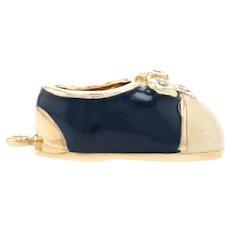 Yellow Gold Diamond & Enamel Saddle Shoe Charm - 14k Bow Cream & Navy Blue