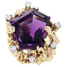 Yellow Gold Amethyst & Diamond Ring - 14k Top Color 31.30ctw