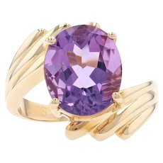 Yellow Gold Amethyst Cocktail Solitaire Bypass Ring - 10k Oval Cut 4.25ct