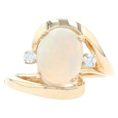 Yellow Gold Opal & Diamond Bypass Ring - 14k Oval Cabochon 1.06ctw