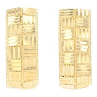 Yellow Gold Etched J-Hook Earrings - 14k Woven Design Pierced