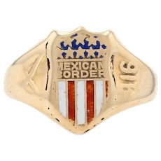 Yellow Gold U.S. Army 1916 Mexican Border War Ring - 14k Antique Military Shield