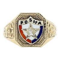 Yellow Gold Patriotic Order Sons of America Ring -10k Enamel P.O.S. of A. Men's