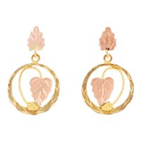 Yellow Gold Etched Grapevine Circle Dangle Earrings - 12k Pierced