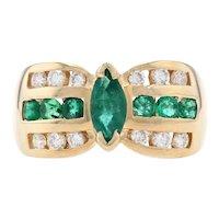 Yellow Gold Emerald & Diamond Ring - 14k Marquise Brilliant Cut 1.51ctw