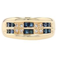 Yellow Gold Sapphire & Diamond Ring - 18k Step Cut Rectangle .74ctw