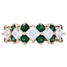 Yellow Gold Cubic Zirconia & Simulated Emerald Band - 14k Princess 2.40ctw Ring