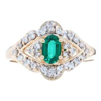 Yellow Gold Synthetic Emerald & Diamond Halo Ring - 14k Oval Cut .79ctw