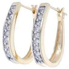 Yellow Gold Diamond Hoop Earrings - 14k Round Brilliant Cut .54ctw Pierced