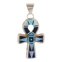 Yellow Gold Opal Turquoise Onyx Native American Ankh Pendant - 14k Life Faith