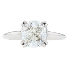 White Gold Diamond Solitaire Engagement Ring - 14k Cushion Cut 2.52ct