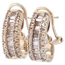 Yellow Gold Diamond J-Hoop Earrings - 10k Single & Baguette Cut 1.00ctw Pierced