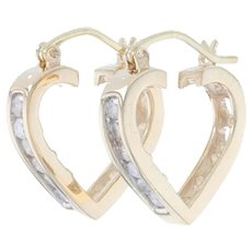 Yellow Gold Diamond Heart Hoop Earrings - 10k Round Brilliant .50ctw Pierced