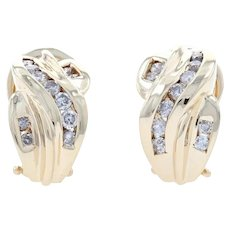 Yellow Gold Diamond J-Hoop Earrings - 10k Round Brilliant Cut .50ctw Pierced