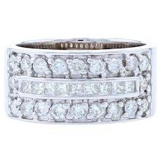 White Gold Diamond Band - 14k Princess Cut 1.20ctw Ring Size 6 3/4