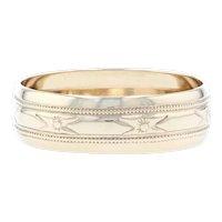 Yellow Gold Vintage Etched Wedding Band - 10k Milgrain Ring