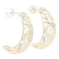 Yellow Gold Etched Botanical Leaf J-Hook Earrings - 14k Pierced