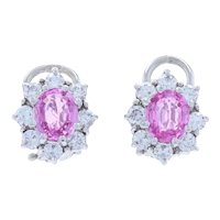 White Gold Pink Sapphire & Diamond Floral Halo Stud Earrings - 14k Oval 3.00ctw