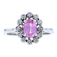 White Gold Pink Sapphire & Diamond Flower Halo Ring - 14k Oval Cut 1.18ctw