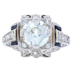 Art Deco Diamond & Synthetic Sapphire Engagement Ring -Platinum European 1.60ctw