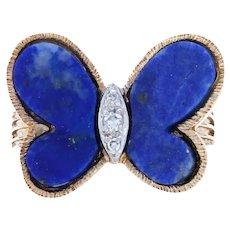 Hammerman Bros. Butterfly Lapis Lazuli & Diamond Vintage Ring Yellow Gold 14k
