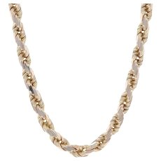 """Yellow Gold Diamond Cut Rope Chain Necklace 30 1/4"""" - 14k Box Clasp"""