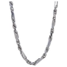 """White Gold Diamond Cut Figarope Necklace 18 1/4"""" - 14k Lobster Claw Clasp"""