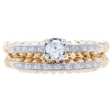 Yellow Gold & Palladium Diamond Art Deco Engagement Ring Wedding Band 14k .16ct