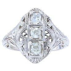 White Gold Diamond Art Deco Floral Three-Stone Ring -18k Mine Cut .50ctw Vintage