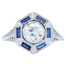 White Gold Diamond & Synthetic Sapphire Art Deco Halo Ring - 18k European 1.00ct