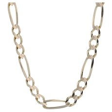 """Yellow Gold Diamond Cut Figaro Chain Men's Necklace 22 3/4"""" - 14k Lobster Clasp"""
