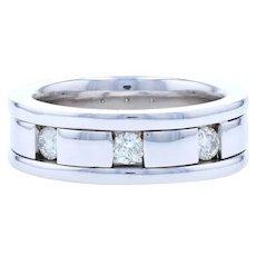 Men's Diamond Wedding Band - 14k White Gold Ring Comfort Fit Round Cut .50ctw