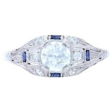 Art Deco Diamond & Synthetic Sapphire Ring -Platinum & 18k Gold European 1.01ctw