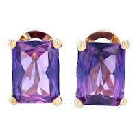Synthetic Sapphire Earrings - 14k Yellow Gold Large Stud Pierced 25.00ctw