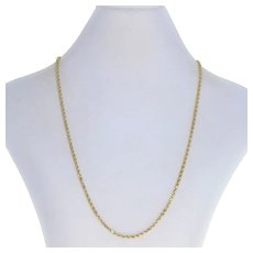"""Yellow Gold Diamond Cut Rope Chain Necklace 18"""" - 14k Tube Box Clasp"""