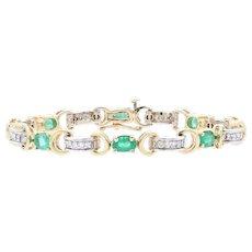 "Emerald & Diamond Link Bracelet 6 3/4"" - 14k Yellow Gold Oval Brilliant 4.55ctw"