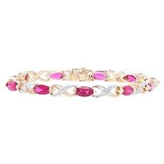 "Synthetic Ruby & Diamond Bracelet 6 3/4"" - 14k Gold Marquise Brilliant 8.06ctw"