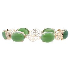 Nephrite Jade Link Bracelet - 14k Gold Chinese Characters Luck of Good Fortune