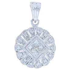 Diamond Cluster Halo Pendant - 18k White Gold Milgrain Princess Cut .28ctw