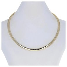 """Yellow Gold Omega Chain Necklace 15 1/4"""" - 14k Box Clasp"""