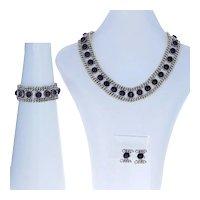 Emma Melendez Amethyst Earrings, Bracelet, & Necklace Set Sterling Silver 925
