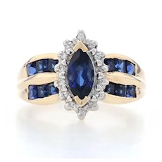 Yellow Gold Synthetic Sapphire & Diamond Halo Ring - 14k Marquise Cut 1.97ctw