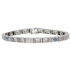 "White Gold Synthetic Sapphire & Diamond Art Deco Bracelet 7"" -14k Vintage .52ctw"
